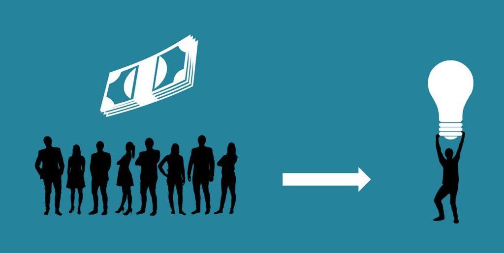 O desenho mostra várias pessoas de um lado com uma nota de dinheiro acima delas. Dessas pessoas, sai uma seta apontando para o outro lado, no qual está uma pessoa segurando uma lâmpada. Essa é a dinâmica dos fundos de investimento