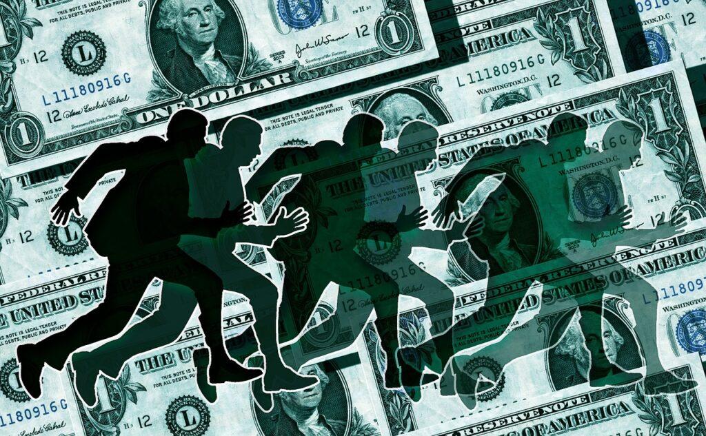 Homens executivos aparecem correndo em frente a várias notas de dólar, representando a fuga de investidores no crash da bolsa de valores