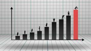 Gráfico de barras crescente com executivos em cima de cada uma das barras e a última é vermelha para sinalizar o potencial de ganhos do mercado futuro