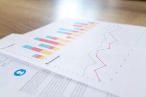 Folhas de papel com gráficos em barra e linha mostrando as variações de um ativo para swing trade